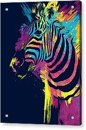 Zebra Splatters Acrylic Print by Olga Shvartsur