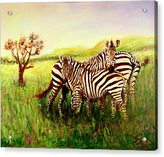 Acrylic Print featuring the painting Zebras At Ngorongoro Crater by Sher Nasser