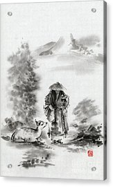 Zen Art  Buddhist Monk Mountains Landscape Acrylic Print