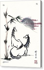 Acrylic Print featuring the painting Zen Horses Evolution Of Consciousness by Bill Searle