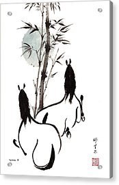 Acrylic Print featuring the painting Zen Horses Moon Reverence by Bill Searle