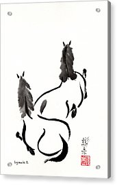 Acrylic Print featuring the painting Zen Horses Retired by Bill Searle