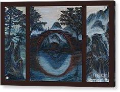 Zen Mountain Lake Tryptych Acrylic Print by Angie Bray
