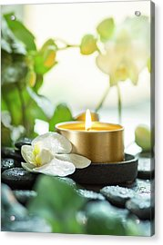 Zen Orchid And Candle Acrylic Print
