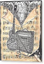 Zentange Inspired Guitar Acrylic Print