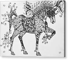 Acrylic Print featuring the drawing Zentangle Circus Horse by Jani Freimann