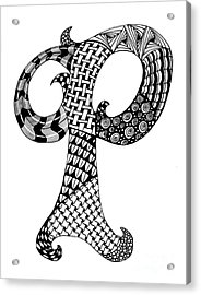 Letter P Monogram In Black And White Acrylic Print by Nan Wright