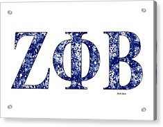 Zeta Phi Beta - White Acrylic Print by Stephen Younts