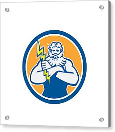 Zeus Greek God Arms Cross Thunderbollt Circle Retro Acrylic Print by Aloysius Patrimonio