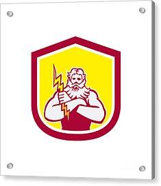 Zeus Greek God Arms Cross Thunderbollt Retro Acrylic Print by Aloysius Patrimonio