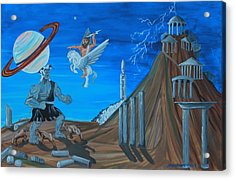 Zeus Versus The Titans Acrylic Print by Mike Nahorniak