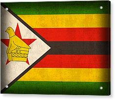 Zimbabwe Flag Distressed Vintage Finish Acrylic Print by Design Turnpike