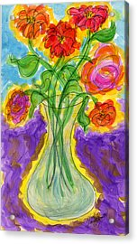 Zinnias And Roses Acrylic Print by Tracy W Smith