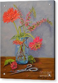 Zinnias From The Garden Acrylic Print