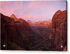 Zion Canyon At Sunset, Zion National Acrylic Print by Panoramic Images