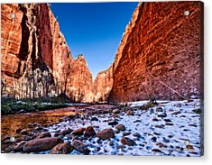 Zion Canyon Winter Acrylic Print by Christopher Holmes