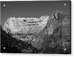 Zion Cliff And Arch B W Acrylic Print