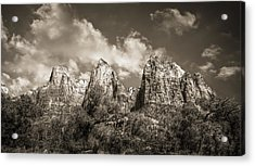 Acrylic Print featuring the photograph Zion Court Of The Patriarchs In Sepia by Tammy Wetzel