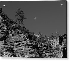 Zion National Park And Moon In Black And White Acrylic Print by Dan Sproul