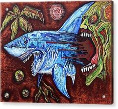 Zombie Eats Shark Acrylic Print by Laura Barbosa