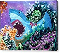 Zombie Handfishin Acrylic Print by Laura Barbosa