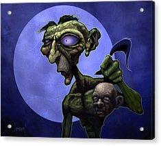 Zombie Head-hunter Acrylic Print by Jephyr Art