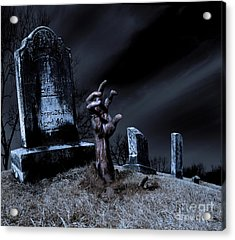 Zombie Rising From The Grave Acrylic Print by Diane Diederich