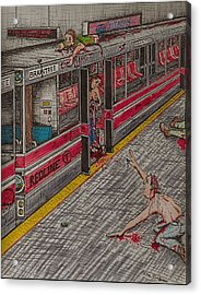 Zombies On The Red Line Acrylic Print