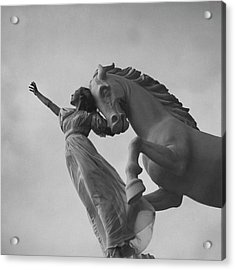 Zorina With A Horse Statue Acrylic Print by Toni Frissell