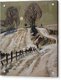 Zuid Limburg First Snow And Full Moon Acrylic Print