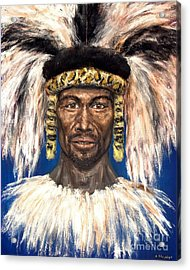 Acrylic Print featuring the painting Zulu Warrior by Arturas Slapsys