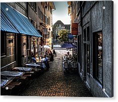 Acrylic Print featuring the photograph Zurich Old Town Cafe by Jim Hill