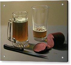 Zwei Bier Bitte Acrylic Print by Timothy Jones