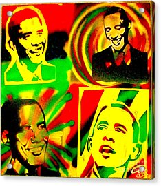 4 Rasta Obama Acrylic Print by Tony B Conscious