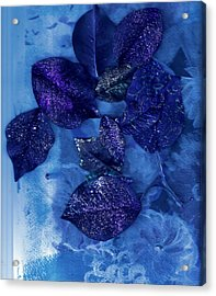 Blue Leaves In Memory  Acrylic Print by Anne-Elizabeth Whiteway
