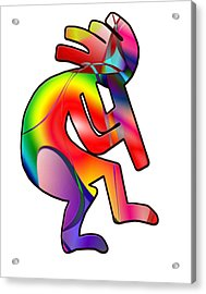 Acrylic Print featuring the photograph  Colorful Kokopelli Silhouette by Susan Leggett