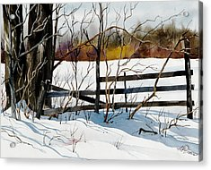 Fenced In Frost Acrylic Print by Art Scholz