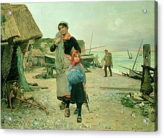 Fisherfolk Returning With Their Nets Acrylic Print by Henry Bacon