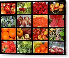 Fruits Collage Acrylic Print by Yumi Johnson