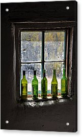 Green Bottles In Window Acrylic Print