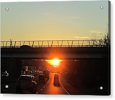 Highway Sunset Acrylic Print by Valia Bradshaw