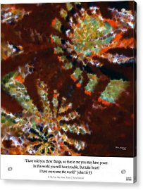 In Me You May Have Peace. Christian Art Poster Acrylic Print by Mark Lawrence