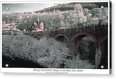 Acrylic Print featuring the photograph  Infrared Train Station Bridge by Beverly Cash