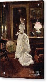 Interior Scene With A Lady In A White Evening Dress  Acrylic Print by Paul Fischer