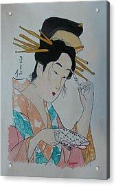 Japan Wood Block  Painting Acrylic Print by Robert Tarzwell