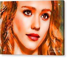 Jessica Alba Portrait A Acrylic Print by Andre Drauflos