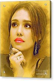 Jessica Alba Portrait C Acrylic Print by Andre Drauflos