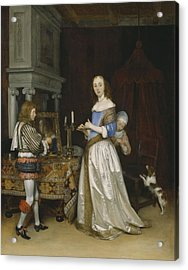 Lady At Her Toilette Acrylic Print by Gerard ter Borch