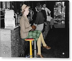 Lady In A Diner Acrylic Print by Andrew Fare