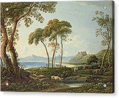 Landscape With Harlech Castle Acrylic Print by John Varley